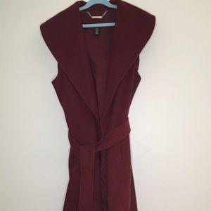 WHBM Wool Felt Burgundy Tie Trench Collared Vest
